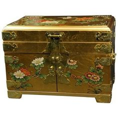 Oriental Furniture Daisi Jewelry Box w/Mirror - Gold Leaf >>> More info could be found at the image url.