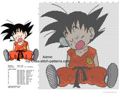Goku enfant dorment grille point de croix Dragon Ball