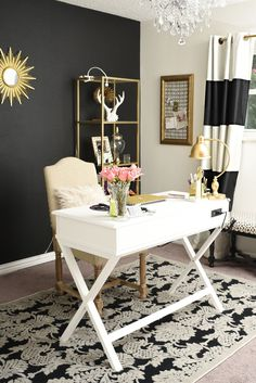 Black, white and gold glam and feminine home office.