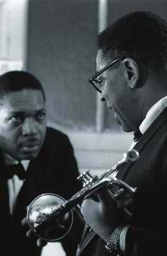 John Coltrane & Dizzy Gillespie at The Olympia, Paris, 1961 / by Jean-Pierre Leloir Music Love, Music Is Life, Good Music, My Music, Jazz Artists, Jazz Musicians, Music Artists, Smooth Jazz, Blues Rock