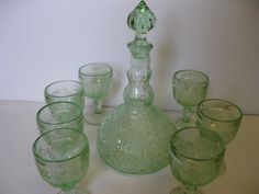 "Indiana Glass Tiara Chantilly Green Sandwich 10"" Decanter and 7 Glasses Set  #teamsellit"