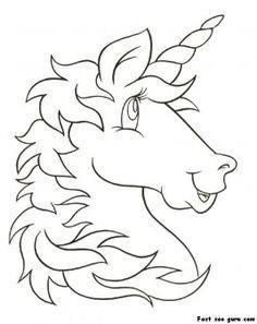 Print out unicorn head coloring pages for kids - Printable Coloring Pages For Kids