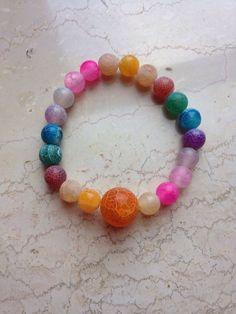 Bracelet: dyed multicolor agate. balmes.roxana@gmail.com