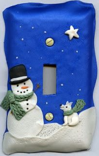 I made this light switch cover in the Dec 07 meeting of the Oklahoma Polymer Clay Guild. Penni Jo Couch did a wonderful job teaching us how to do these -- my favorite part was the faux knit technique for the scarf. Polymer Clay Kunst, Fimo Clay, Polymer Clay Projects, Clay Beads, Switch Plate Covers, Light Switch Covers, Switch Plates, Christmas Village Display, Polymer Clay Christmas