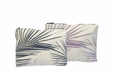 Mid Size Palm Fronds Reversible Bag | White and Acai/Granite