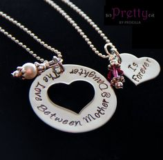 Valentines Gift for Mother Daughter - Hand Stamped Jewelry - The Love Between Mother and Daughters is Forever by PrettyByPriscilla