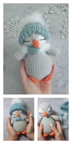 Crochet Penguin, Crochet Snowman, Crochet Patterns Amigurumi, Crochet Bear Patterns, Crochet Motif, Free Crochet, Crochet Crafts, Crochet Toys, Crochet Projects