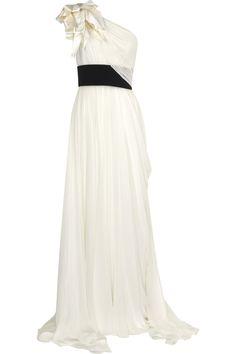 Marchesa One-shoulder Silk chiffon Gown