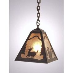 Steel Partners Deer Vegas 1 Light Outdoor Pendant Finish: Old Iron, Shade Type: Slag Glass Pretended