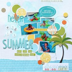 Never Ending Summer **Bella Blvd DT** - Scrapbook.com - Use torn blue patterned paper and cute die cuts to create a summer scene.