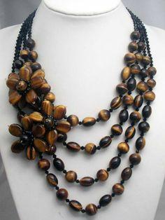 4 Strands Of Tiger EyeCrystal Wired Flower por audreyjewelry, $42.00