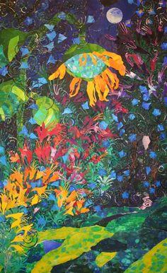 Garden Sanctuary ,Original Acrylic on paper collage 23x35