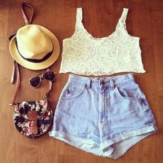 I especially love the bag and the sunglasses, and the lacy top and high-waisted shorts festival outfit. Teen Fashion, Love Fashion, Womens Fashion, Style Fashion, Fashion Vintage, Fashion Ideas, Fashion Shoes, Spring Summer Fashion, Spring Outfits