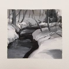 black and white 30 minute gouache study. This one I liked the contrast between the dark creek and snowy banks receding into the fog in the back. Gouache Painting, Painting Art, Value Painting, White Gouache, Waterfalls, Banks, Sketching, The Darkest, Contrast