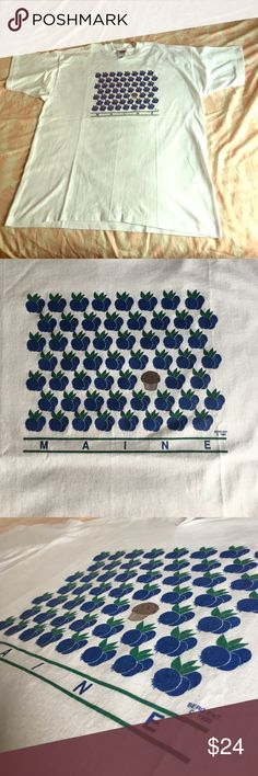 1990 Maine Blueberry Tee . Blueberries galore  XL vintage blueberry / muffin vintage tee . Bright white with a light mark here or there . Perfectly clean & ready to show off . 1990 Maine  Vintage Tops Tees - Short Sleeve