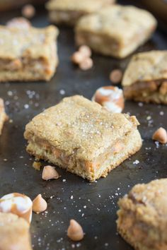 Salted vanilla-caramel and butterscotch cookie bars that are soft, creamy, and gooey