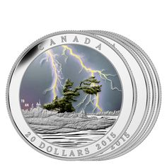 Weather Phenomenon: Summer Storm – 1 oz. Fine Silver Glow-in-Black-Light Coin – Mintage: Mint Coins, Silver Coins, Coin Collection Value, Canadian Gold Coins, American Eagle Gold Coin, Canadian Things, Valuable Coins, Canada, Manualidades