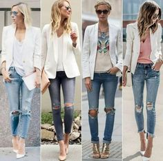 Look blazer, blue jean outfits, denim outfit, white jacket outfit, blazer o White Jacket Outfit, Blazer Outfits Casual, Blazer Fashion, Denim Outfit, Fashion Outfits, Womens Fashion, Casual Jeans, Petite Fashion, Denim Fashion