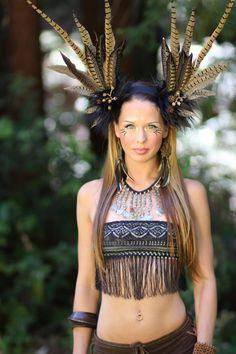 Warrior Feather Headdress Goddess Inanna by lotuscircle on Etsy, $120.00