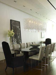 Dining Room with dark wood floor Rectangular Chandelier, Large Chandeliers, Crystal Chandeliers, Chandelier Ideas, Dining Chandelier, Dining Room Lighting, Black Chandelier, Chandelier Lighting, Contemporary Chandelier