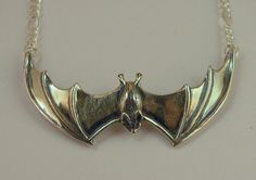 Silver Large Spread Winged Bat Pendant. Etsy.