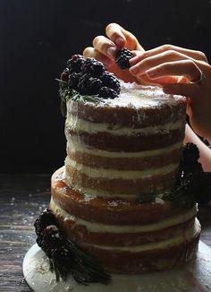 Vanilla Bean Blackberry Cake with Rosemary Buttercream & Honey Chamomile Syrup