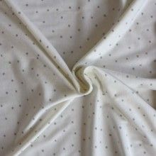 Cotton Jersey: Grey on Cream Spot