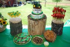 Wooden risers are a good way to accent birthday treats at a John Deere party.  See more John Deere birthday party ideas at www.one-stop-party-ideas.com