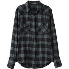 【ELLE SHOP】ケトル ブラック|チェックシャツ|ファッション通販 エル・ショップ ❤ liked on Polyvore featuring tops, blouses, shirts, flannel, flannel blouse, shirts & tops, flannel tops, flannel shirts and shirts & blouses