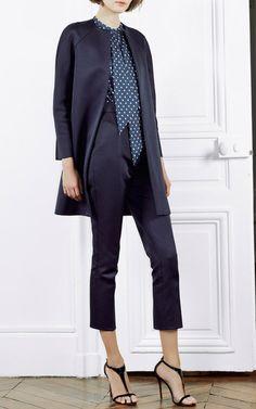Navy Raglan Sleeve Coat by Martin Grant for Preorder on Moda Operandi