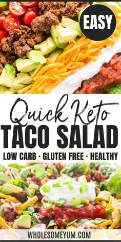 How to make taco salad in just 20 minutes! This easy taco salad recipe is EASY, with common ingredients. And, the whole family will love healthy taco salad with ground beef. Easy Taco Salad Recipe, Low Carb Taco Salad, Taco Salad Recipes, Salad Recipes For Dinner, Low Carb Dinner Recipes, Healthy Salad Recipes, Taco Salad Doritos, Taco Salads, Chef Recipes
