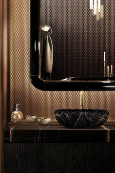 Unique and exclusive, this black and gold bathroom by Maison Valentina has the Black Marble Version of Lotus Vessel Sink. Also, our KOI towel Ring complements this elegant Inspiration.
