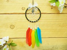 Rainbow Car Dreamcatcher: Small Dreamcatcher, Car Accessory, Pride Accessory, Gay Pride, Rainbow Dreamcatcher, Rearview Mirror Dreamcatcher