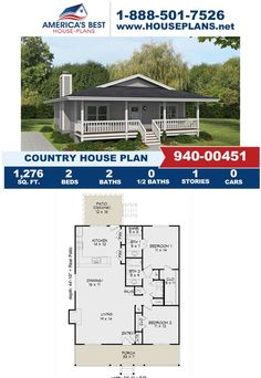 Introducing this one-story, Country home design that's fulfilled with 1,276 sq. ft., 2 bedrooms, 2 bathrooms, a covered porch, and an open floor plan. Visit our website for more details about Plan 940-00451, today!