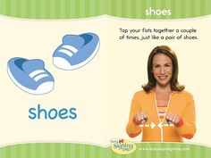 Learn how to sign shoes in ASL (American Sign Language). Tap your fists together like a pair of shoes. Your turn, sign shoes! Sign Language Book, Sign Language Chart, Sign Language For Kids, Sign Language Interpreter, British Sign Language, Learn Sign Language, Language Dictionary, Second Language, Autism Learning