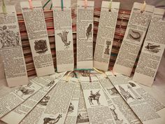 handmade recycled vintage encyclopedia bookmarks.  I have some old encyclopedias I don't know what to do with.
