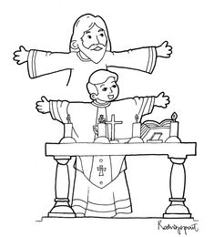 Coloring Page of Priest Celebrating Mass