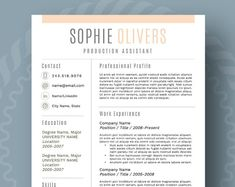 Resume Design : Modern Resume Template for Word, Page Resume + Cover Letter + Reference Page. Student Resume Template, Modern Resume Template, Creative Resume Templates, Cv Template, Templates Free, Resume Tips, Resume Examples, Cv Tips, Resume Cv
