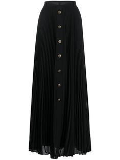 Black silk long pleated skirt from Philosophy Di Lorenzo Serafini featuring a front button fastening, a waistband and a flared style. Chiffon Skirt, Pleated Skirt, Knitting Patterns Free, Black Silk, Front Button, Philosophy, Women Wear, Blanket, Sewing