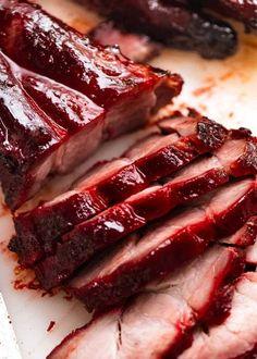 Close up of sliced Char Siu Pork - Chinese BBQ Pork Pork Tenderloin Recipes, Pork Recipes, Asian Recipes, Chicken Recipes, Cooking Recipes, Barbecue Recipes, Grilling Recipes, Homemade Chinese Food, Asian Bbq