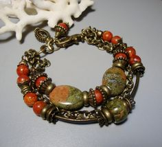 Unakite and Sponge Coral Bracelet with Brass by nina68 on Etsy