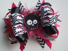 Halloween Black Skull Bow with Chevron by ransomletterhandmade, $10.00