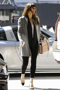 Jessica Biel wearing Chanel Slingback Pumps, Elena Ghisellini Angel Bag and Parker Smith Bombshell Jeans in Noir