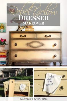 Before and After Painted Curb-Shopped Dresser by Denise at Salvaged Inspirations Diy Storage Furniture, Chalk Paint Furniture, Furniture Makeover, Chalk Paint Colors, Diy Couch, Dixie Belle Paint, Diy Projects, Dressers, Inspiration