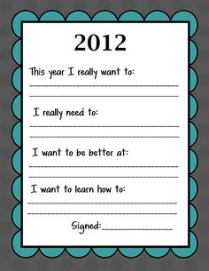 Kid-Friendly New Year's Resolution Printable