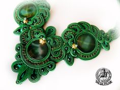 Soutache necklace in Green