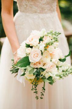 light pink + peach rose wedding bouquet| Image by Diktat Photography