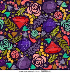 Retro background with crystals, roses and spices. - stock vector