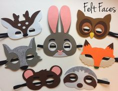 One set of 7 Woodlands Animal party masks, one of each style shown in the photo. Each mask is made with premium felt, and has a black elastic band sewn to each side of the back. These adorable party m