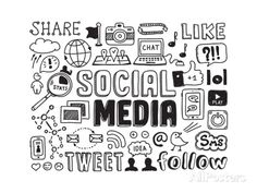 Buy Social Media Doodles Elements by Bloomicon on GraphicRiver. Hand drawn vector illustration set of social media sign and symbol doodles elements. Isolated on white background. Social Media Trends, Social Networks, Social Media Marketing, Digital Marketing, Content Marketing, Online Marketing, Marketing Plan, Social Networking Effects, Marketing Tactics